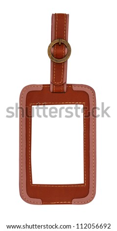 leather tag isolated on white