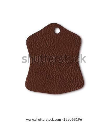 Leather tag or label isolated on white background. - Shutterstock ID 185068196