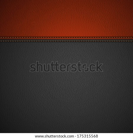 Leather Texture Background with Stitched Red Stripe  - raster version