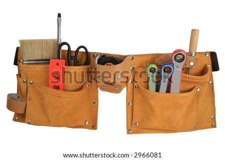Leather tool belt full of tools isolated with clipping path