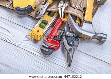 Leather toolbelt pliers construction level tape measure monkey wrench adjustable spanner wire cutter. #447152212