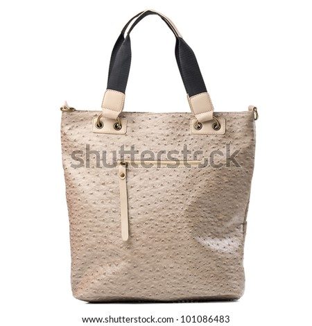 Leather tote bag isolated over white