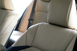 leather upholstery in the new car