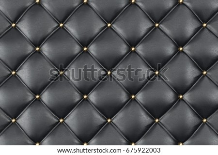 Leather Upholstery Sofa Background. Black Luxury Decoration Sofa. Elegant Black Leather Texture With Buttons For Pattern and Background. Leather Texture for Graphic Resource. 3D Rendering