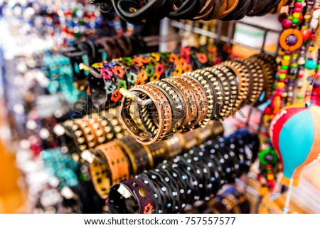 Leather vintage bracelets in a flea market