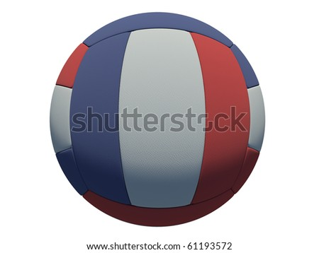leather volleyball ball on isolated background (french skin)