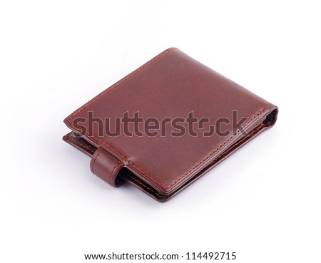leather wallet back against white background