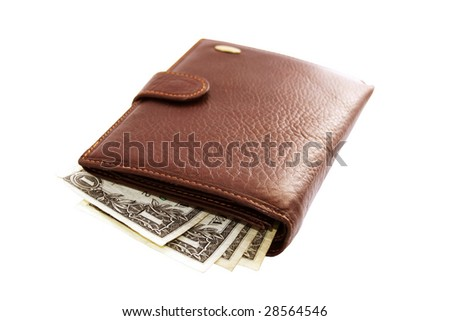 Leather wallet brown color with a few dollars. An isolated object.