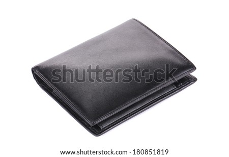 Leather wallet. Isolated on a white background.