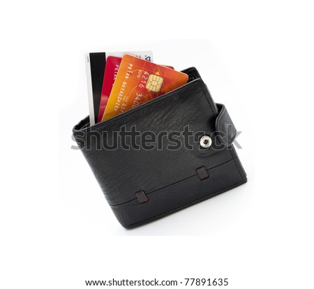 leather wallet isolated on white background