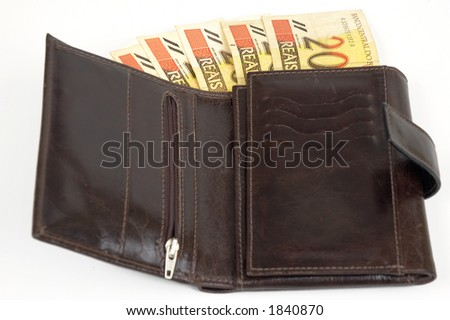 Leather wallet of money with $20 brazilian real - stock photo