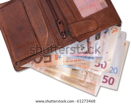 Leather wallet with some 50 Euro banknotes on white