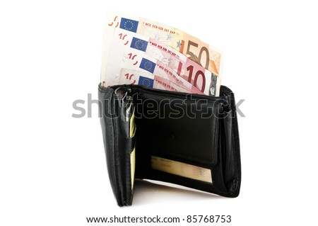 Leather wallet with some euros inside