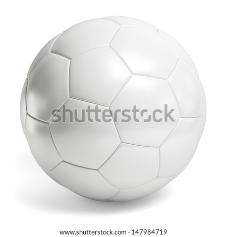 Leather white football. Soccer ball isolated