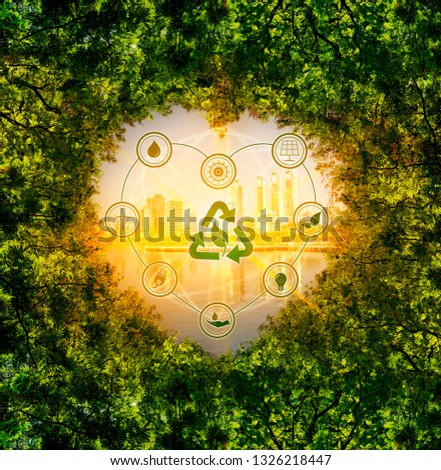 Leaves, background, city, heart shape with icons, concept of nature conservation and energy saving technology #1326218447