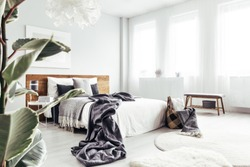 Leaves in the foreground of bright bedroom interior with dark blanket on bed near basket and wooden bench
