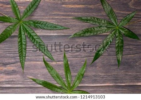Leaves marijuana on a wooden background. #1214913103