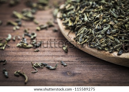 leaves of green tea - stock photo