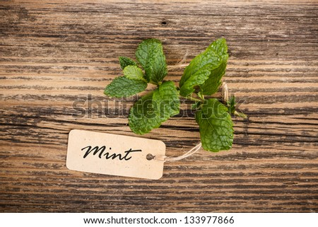Leaves of mint with label