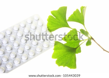 Leaves of the ginkgo tree and coated tablets for oral use (symbolic)
