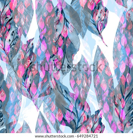 Leaves repeat pattern watercolour painting background. All over foliage painted green leaf small backdrop hand illustration.