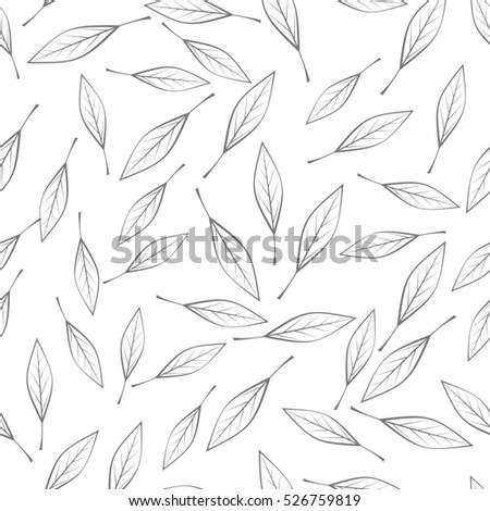 Leaves  seamless pattern. Flat style illustration. Falling colorless tree leaves on white background. Autumn defoliation. For wrapping paper, greeting card, invitation, printing materials design
