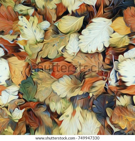 Leaves seamless pattern. Watercolor illustration. Hand painted background.