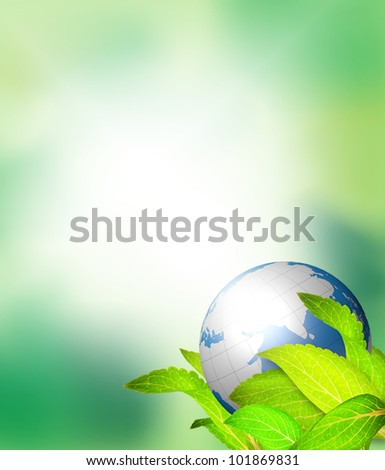 Leaves wrap the globe with green background - stock photo