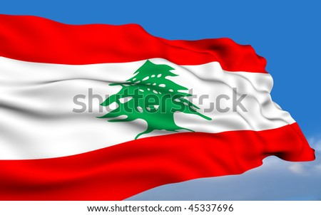 Lebanese flag waving on wind