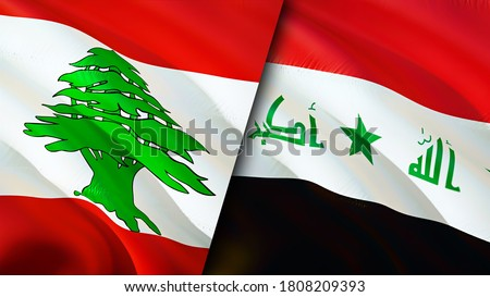 Lebanon and Iraq flags. 3D Waving flag design. Lebanon Iraq flag, picture, wallpaper. Lebanon vs Iraq image,3D rendering. Lebanon Iraq relations alliance and Trade,travel,tourism concept