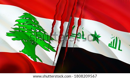 Lebanon and Iraq flags with scar concept. Waving flag,3D rendering. Lebanon and Iraq conflict concept. Lebanon Iraq relations concept. flag of Lebanon and Iraq crisis,war, attack concept