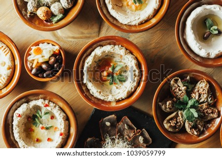 Lebanon cuisine. Traditional meze lunch