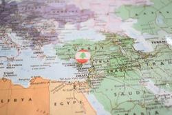 Lebanon flag drawing pin on the map