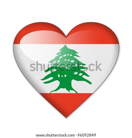 Lebanon flag in heart shape isolated on white background