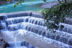 Lech Falls, Lech River, Fuessen, Ostallgaeu, Allgaeu, Schwabia, Bavaria, Germany, Europe
