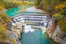 Lechfall waterfall and autumn forest in Fussen, Bavaria, Germany.