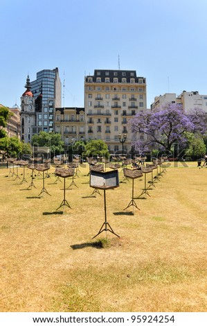 Lecterns in Buenos Aires park.