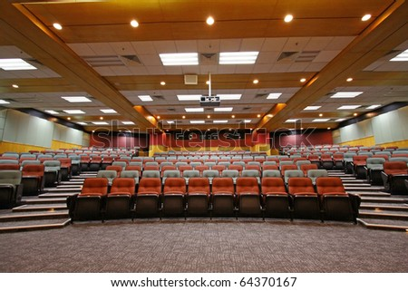 Lecture hall with colorful chairs