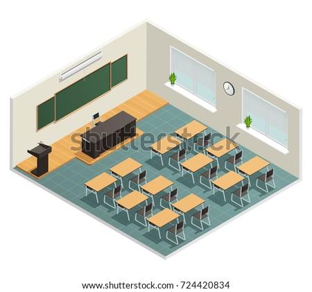 Lecture room with big chalk board desks massive black table for lecturer and tribune isometric poster  illustration
