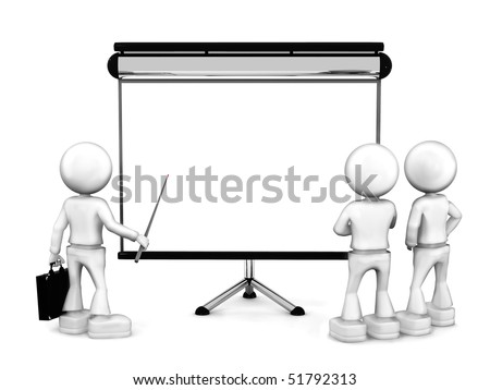 Lecturer and students. 3d image isolated on white background.