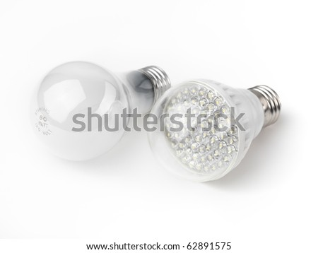 LED and a regular incandescent light bulbs isolated on white background