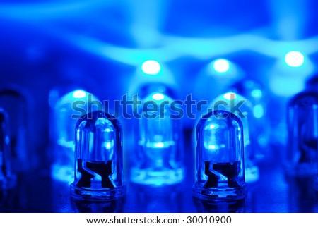 LED background with dozens transparent blue LEDs - stock photo