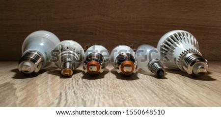 LED bulbs. A set of light bulbs. LED energy-saving light bulbs. #1550648510