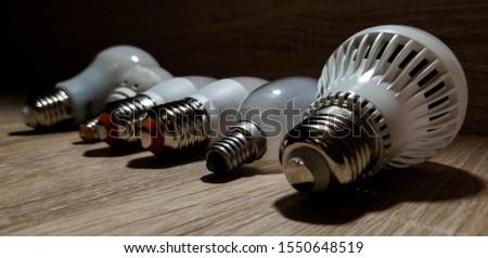 LED bulbs. A set of light bulbs. LED energy-saving light bulbs. #1550648519