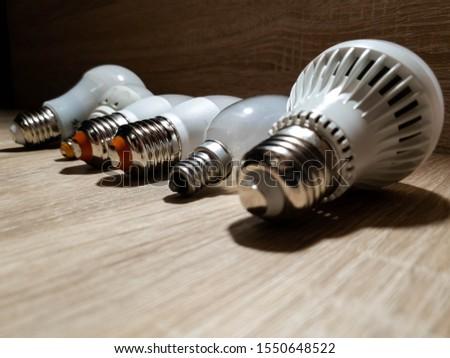 LED bulbs. A set of light bulbs. LED energy-saving light bulbs. #1550648522