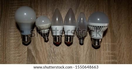 LED bulbs. A set of light bulbs. LED energy-saving light bulbs. #1550648663