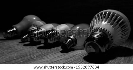LED bulbs. A set of light bulbs. LED energy-saving light bulbs. #1552897634