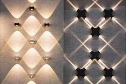 LED decoration lights idea on wall create shape with light and shadow.