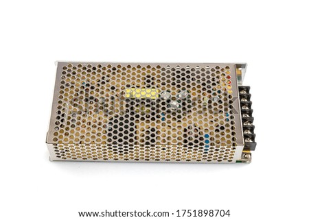 LED Driver 12v in metal case. Switching power supply DC to DC isolated on white background. Stok fotoğraf ©