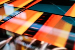 LED floor technology bright orange pattern electronic reflection - creative image on the LED smd floor